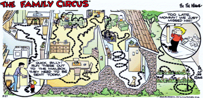 The Family Circus ©Bil Keane Inc. Distributed by King Features Syndicate date for this strip unavailable due to image quality